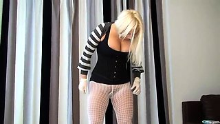 Dominant blonde milf makes her slave swallow her hot piss
