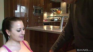 Torrid black head Lara Jade Deene desires to ride fat prick in the kitchen