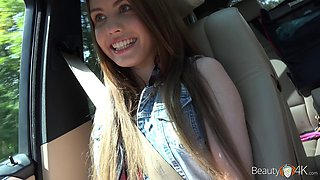 Pretty teen called Elle Rose getting bonked inside the car