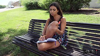 Mexican babe Frida Sante is fucked hard by stranger in public place