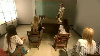 A few college girls show their cock-sucking skills to their teacher