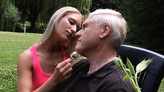 Exciting 69 desires for oldman and hot blonde