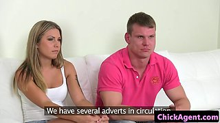 female agent fucked by guy as his gf watches