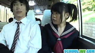 Teen On A Public Bus Puts Her Face In A Bus Rider Lap