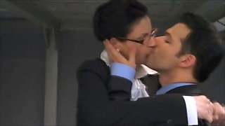 Dirty secretary has rough sex outside the building