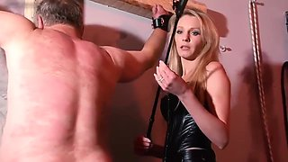 slave being whipping by hot blonde mistress