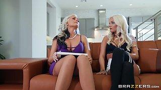 Blonde classy MILF whore Alena Croft rides dick in the kitchen