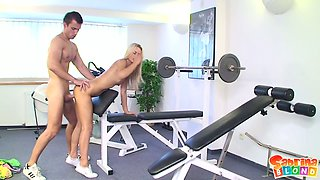 Long legged appetizing slender beauty Sabrina Blond gives BJ to gym instructor