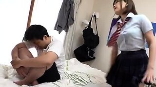 Hot Japanese teens in school uniforms in hot group function