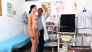 Brunette doctor gaping with cumshot