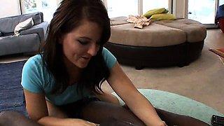 Cute white teen nursing on huge black meat