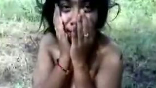Petite Indian village girl shows me her big natural tits