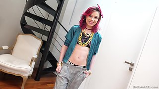 Pink haired punk teen Kira Roller gets cum in her dirty whore mouth