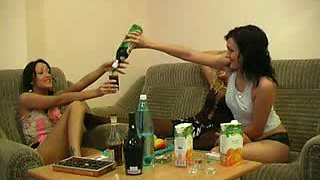 Drunk chicks go nuts while pleasing each other after the party