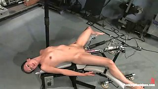 sexy brunette tries out a new machine