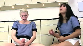Kinky kittens ride the biggest strap-ons and spray semen eve
