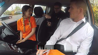 Sexy Teen Sucks And Fucks In Driving School Car