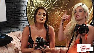Busty domina beauties filming jerking sub
