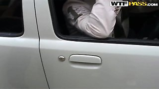 Giving wild blowjob in the car delights sexy Yulia
