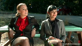 Chanel Preston And James Deen In Two Brunette Babe Chanel And Barretta Gets Proper Punishmen