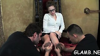 Mistress gets her feet and cunt licked passionately