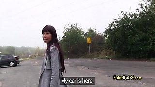 Ebony babe fucks stranger in car