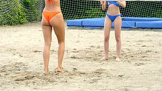 Beach volleyball with Angel Emily is turned into wild MFF threesome