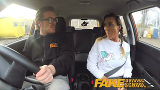 Fake Driving School Busty gym bunny big tits bounce as she squats on cock
