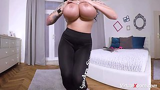 german milf sandra sturm plays with her monster juggs