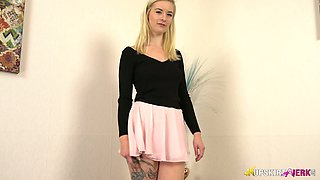 Leggy blonde Gracie shows off her sexy panties upskirt