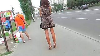 Black thong covers her nub up skirt