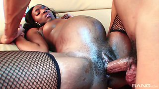 Ebony pregnant bitch in stockings Alice Black gets her muff rammed