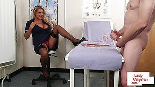 CFNM voyeur nurse instructing hard cock jerkoff