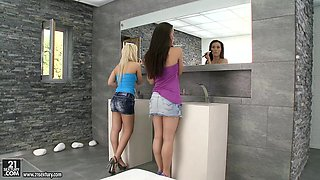 Lustful Lesbians Enjoy From Fisting The Toilet