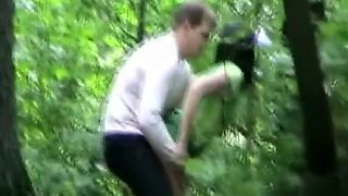 Drunken friends have a quick doggystyle coitus in the woods
