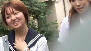 Group Shuri sharking action with two really hot oriental slutty schoolgirls