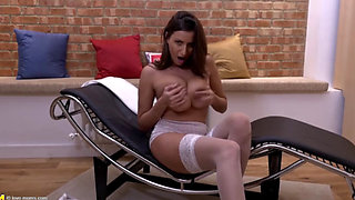 Sexy SJ in lingerie drilling her pussy