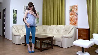 Crazy Luna Rival masturbates pussy and pisses lying on the table