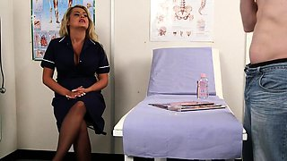 Busty nurse instructs her submissive patient