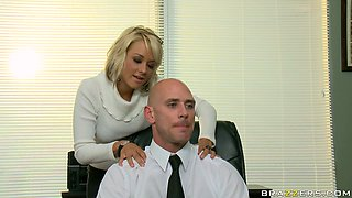 Kinky blonde secretary Briana Blair seduces her boss in the office