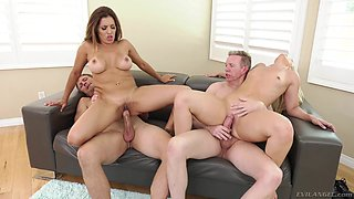 bootylicious foursome with busty milfs @ anal couples swap