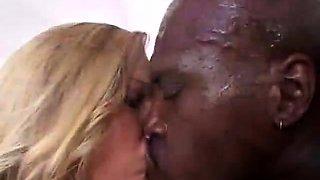 Extreme close up during interracial fuck of black slut