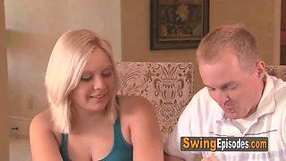 Blonde swinger ladies meet in the red orgy room