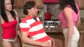 Mom Interrupts Two Teens Fucking In The Kitchen And She