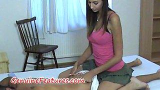 Seducing massage by real czech brunette