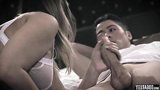 Horny blonde stepsister tricks her bro into taboo sex
