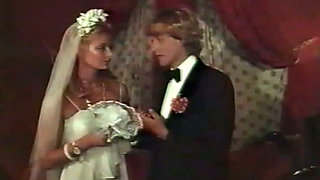 Romantic sex of beautiful blonde bride with her horny groom