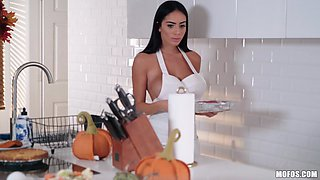 Victoria June spreads her legs for a nasty kitchen fuck