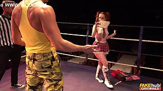 Ella Hughes, Marc Rose And Kristof Cale - A Young Ginger In School Uniform Gets Pouned Hard By