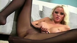 Flexible blonde sandy in nylon sizzling solo teasing show